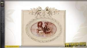 Cadre-photo en bois coloris crème
