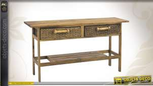 Console en bois à 2 tiroirs et tablette