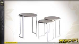 Série de 3 tables gigognes bois et métal coloris blanc