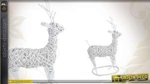 Renne de Noël lumineux en osier blanc