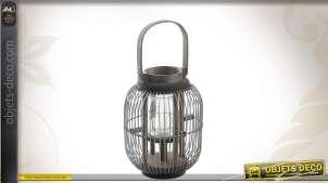 Lanterne en bois et en métal vieilli et oxydé avec porte-bougie 30 cm