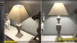 Lampe de table en bois finition blanc cassé et patine dorée, carrée avec abat jour couleur lin, style campagne chic 60cm
