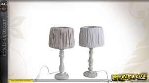 Duo de lampes de chevet en bois