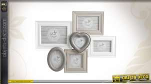 Cadre-photos en bois laqué et verre en pêle-mêle