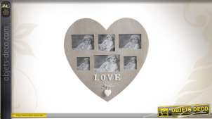 Cadre-photos en bois en forme de coeur