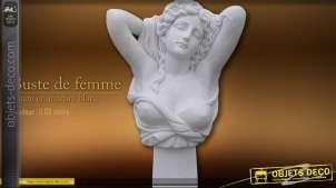 Buste de femme en marbre blanc
