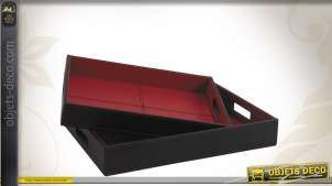 Série de 2 plateaux similicuir rouge et noir
