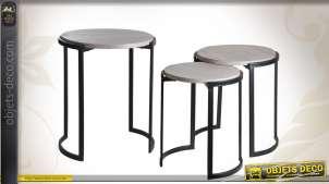 Série de 3 tables gigognes bois et métal coloris noir