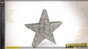Etoile décorative lumineuse en métal argenté