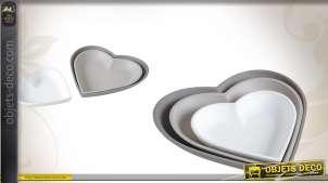 Série de 3 corbeilles coeur en bois