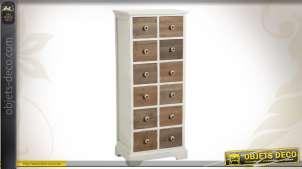 Chiffonnier bicolore en bois à 12 tiroirs