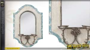 Miroir mural brocante patine vieillie avec porte chandelles