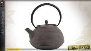 Théière en fonte coloris gris 1,4 L avec passoire à thé
