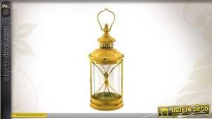 Lanterne cylindrique rétro en métal coloris jaune aspect vieilli 38 cm
