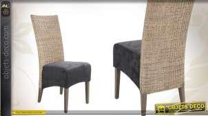 Chaise en teck, rotin et suédine