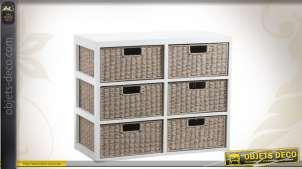Commode bois et papier codé à 6 tiroirs