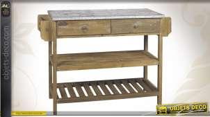 Console en bois et zinc finition ancienne