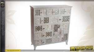 Commode de charme en bois avec 1 porte et 8 tiroirs