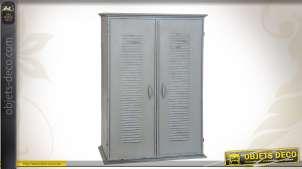 Armoire style indus coloris gris patiné à 2 portes