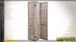 Paravent à 3 vantaux à persiennes en bois vieilli