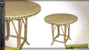 Table ronde en moelle de rotin et manau