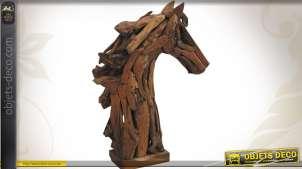 Sculpture artisanale en teck recyclé : Tête de cheval 104 cm