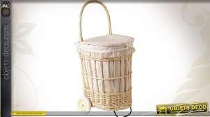 Panier à linge à roues en osier blanc et doublure coton