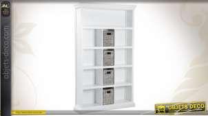 Bibliothèque en bois de manguier avec étagères et paniers