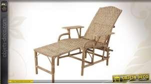 Chaise longue vieillie en manau et lame de rotin