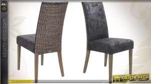 Chaise de table en teck, rotin et suédine coloris gris