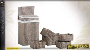 Set 7 pièces : 2 panières à linge et 5 corbeilles en papier cordé