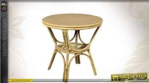 Table ronde en rotin coloris clair