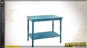 Table patinée bleu vieilli en bois