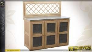 Buffet d'appoint en épicéa pour cuisine extérieure avec 3 portes