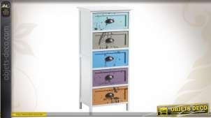Chiffonnier en bois à 5 tiroirs colorés