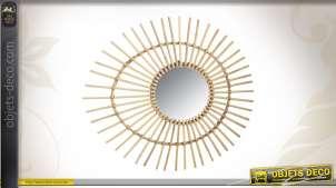 Miroir rond avec encadrement en rotin clair