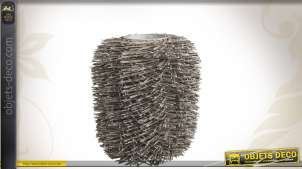 Vase décoratif en zinc et osier gris