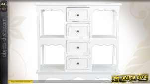 Console en bois patiné coloris blanc avec 4 tiroirs