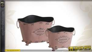 Duo de corbeilles décoratives en métal vieilli coloris rose