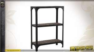Etagère de rangement en bois et en métal coloris noir