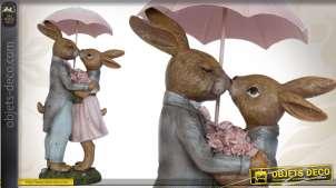 Statuette couple de lapins amoureux