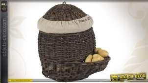 Série de 2 patatières en osier brut et doublures jute
