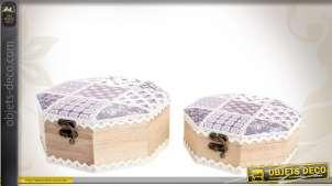 Série de 2 boîtes décoratives en bois