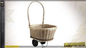 Chariot à bûches en osier avec roulettes
