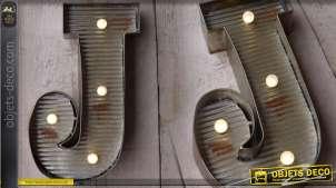 Décoration murale en métal Lettre J avec éclairage LED