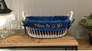 Corbeille en osier avec doublure coloris blanc et bleu