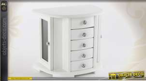 Boîte à bijoux blanche pour coiffeuse avec 5 tiroirs et 2 portes