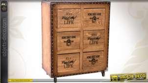 Commode à 6 tiroirs bois ciré et similicuir