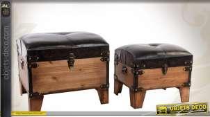 Série de deux poufs coffres en bois et similicuir
