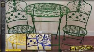 Salon de jardin en fer forgé 3 pièces (plusieurs coloris)